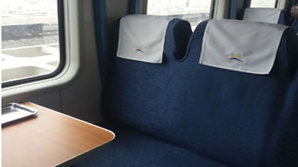 SGR train Economy seats, 2+3 across car Capacity 118 Pax
